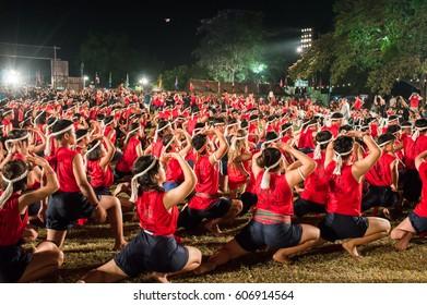 Wai Khru Muaythai ceremony in Ayutthaya, Thailand on 17 March 2017