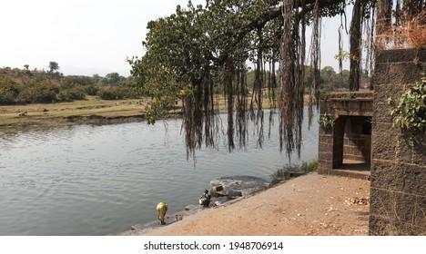 WAI, MAHARASHTRA, INDIA-FEB 05,2009 : View of bank of Krishna river at village near WAI Maharashtra, INDIA.