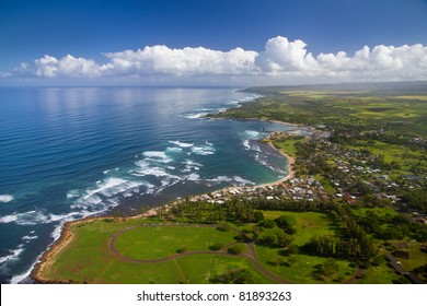 Waialua Bay and Haleiwa, Oahu Hawaii - Kaiaka Bay Beach Park in foreground, with Turtle Beach in the distance.