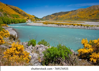 Waiau river at Hanmer Springs town, NZ