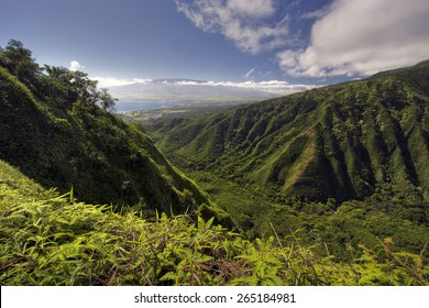 Waihee Ridge Trail, over looking Kahului and Haleakala, Maui, Hawaii