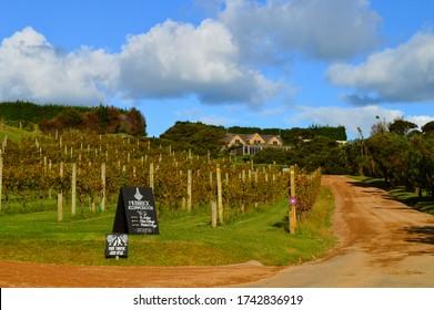 WAIHEKE ISLAND, NEW ZEALAND – APRIL 11TH, 2018: Mudbrick Vineyards in Waiheke Island, New Zealand