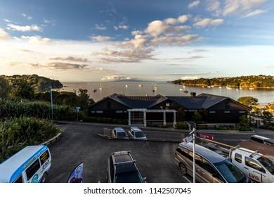 Waiheke Island, New Zealand - June 09, 2018: Beautiful sunset at Waiheke Island, Auckland, New Zealand