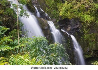 Waikani Falls, also known as the Three Bears on the road to Hana, Maui, Hawaii