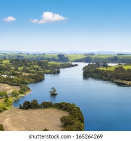 Waikato river picturesque landscape, New Zealand