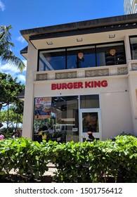 Waikiki - August 20, 2018: Burger King in Waikiki. Burger King is an American global chain of hamburger fast food restaurants.