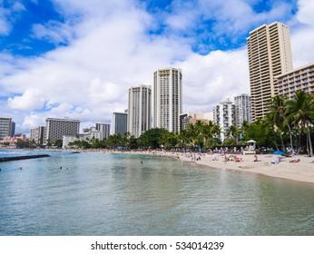 Waikiki beach is beachfront neighborhood of Honolulu, Oahu Island, Hawaii, USA. Waikiki Beach in the center of Honolulu has the largest number of visitors in Hawaii.