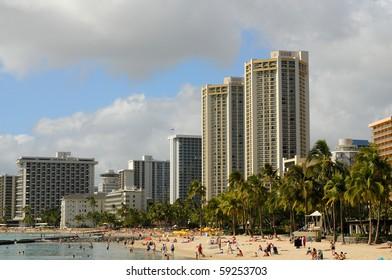 Waikiki beach The City of Honolulu Hawaii USA