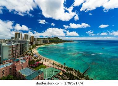 Waikiki beach & diamond head,