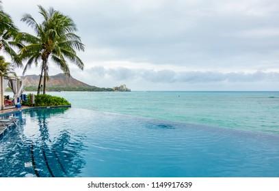 Waikiki Beach and Diamond Head Crater including the hotels and pool in Waikiki, Honolulu, Oahu island, Hawaii. Waikiki Beach in the center of Honolulu has the largest number of visitors in Hawaii