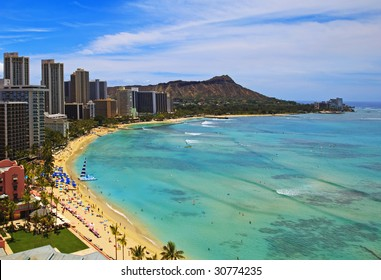 Waikiki Beach and Diamond Head Crater on the Hawaiian island of Oahu