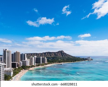 Waikiki Beach and Diamond Head Crater including the hotels in Waikiki, Honolulu, Oahu island, Hawaii. Waikiki Beach in the center of Honolulu has the largest number of visitors in Hawaii.