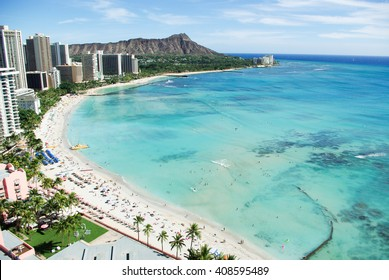 Waikiki Beach and Diamond Head, Honolulu, Oahu Island, Hawaii
