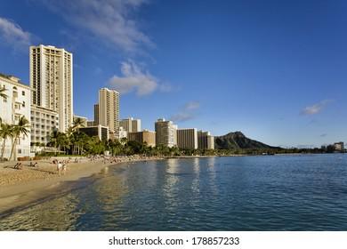 Waikiki Beach and Diamond Head on the island of Oahu