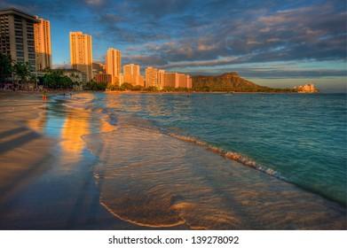 Waikiki beach and Diamond Head at sunset