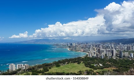 Waikiki Beach Diamond Head Wide View - Honolulu, Hawaii, United States.