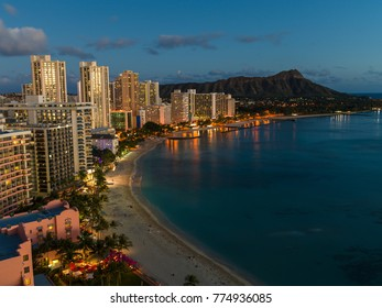 Waikiki beach evening in Hawaii