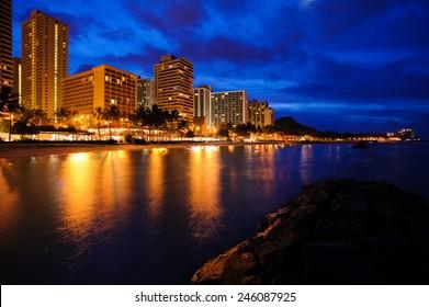 Waikiki beach in Honolulu Hawaii before sunrise