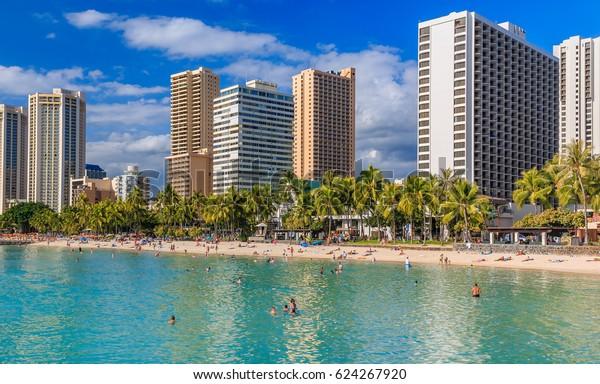 Waikiki Beach and Honolulu skyline in Hawaii, USA
