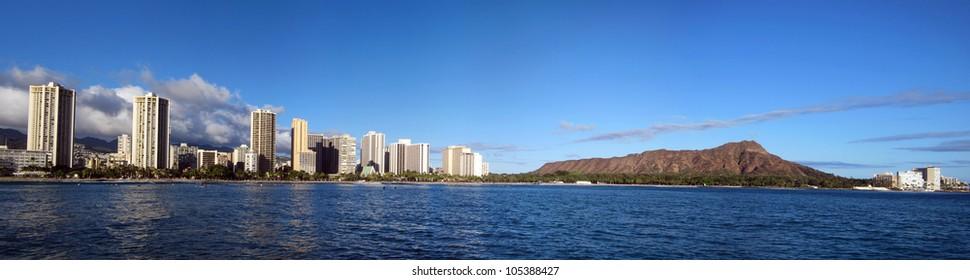 Waikiki Beach Hotels and Diamond Head Crater