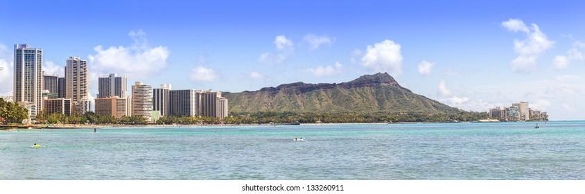 Waikiki beach and hotels with Diamond head mountain panorama