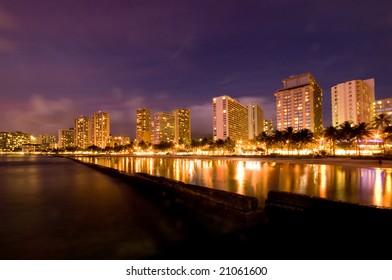 Waikiki Beach night scene