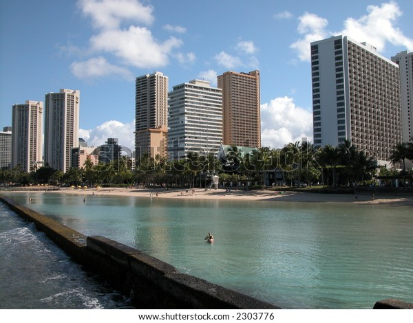 Waikiki Beach Oahu Hawaii Hotel Builings Stock Photo Edit
