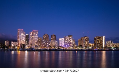Waikiki beach skyline at dusk