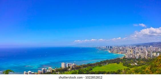 Waikiki cityscape seen from diamond head (panorama)