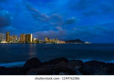 Waikiki diamond head view from magic island