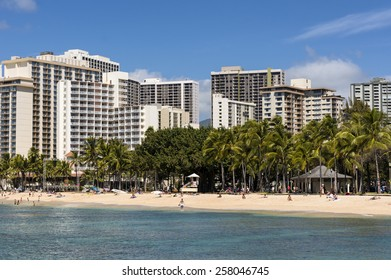 WAIKIKI, HAWAII - FEBRUARY 18, 2015: View of hotels at Waikiki beach in Honolulu, Hawaii. Waikiki white sand beach shoreline is Hawaii's most famous beach.