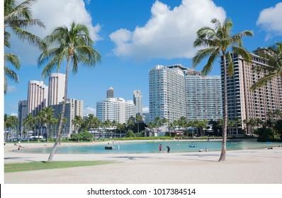 Waikiki, Hawaii – January 29, 2018: Waikiki hotels, harbor and popular lagoon in Oahu, Hawaii