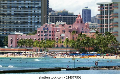 WAIKIKI, HAWAII - MAY 11, 2013: The Royal Hawaiian, pictured here on May 11, 2013, was one of the first hotels established in Waikiki, and is considered a flagship hotel in Hawaii tourism.