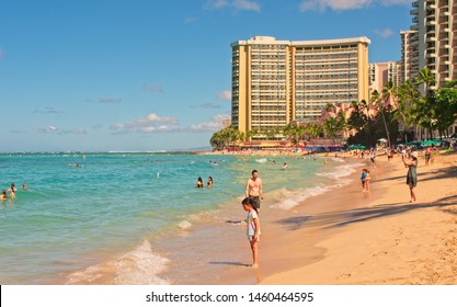 Waikiki, HI, USA - July 15, 2019: View to the Sheraton Hotel from Waikiki beach.
