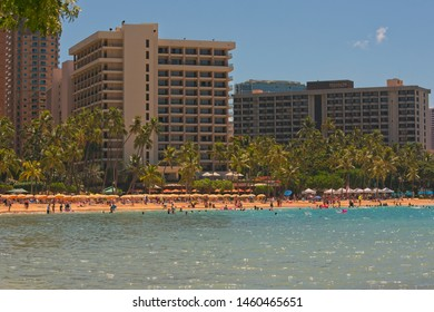 Waikiki, HI, USA - July 15, 2019: View to Waikiki beach