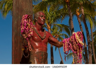 Waikiki, HI, USA - July 15, 2019:Statue of Duke Kahanamoku at Kuhio Beach Waikiki