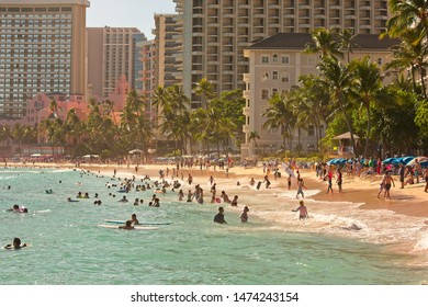 Waikiki, HI, USA - July 16, 2019: View to Waikiki Beach hotels and resorts.