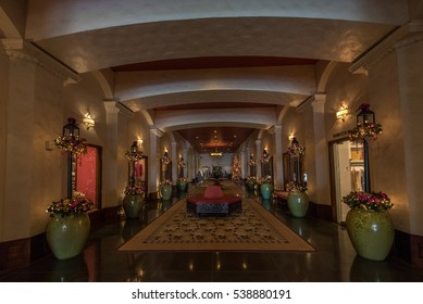 Waikiki, Honolulu, Hawaii - December 18, 2016: Decorated for the Christmas holidays, the world famous Royal Hawaiian Hotel is welcoming guests and visitors for the upcoming holiday celebrations.