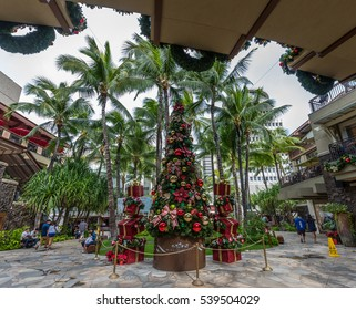 Waikiki, Honolulu, Hawaii, December 18, 2016: Christmas tree and decorations at the Royal Hawaiian Shopping Center in Waikiki.
