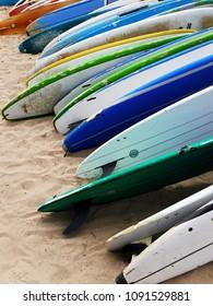 Waikiki, Honolulu, United States, May 4th 2018, Colorful surfboards on Waikiki beach