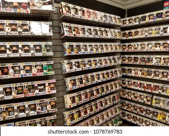 Waikiki - September 4, 2016: Funko Pop! Figures on display at Gamestop.  Funko is an American company that manufactures licensed pop culture collectibles.