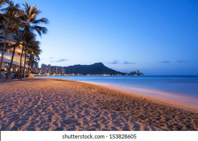A Waikiki sun rising over Diamond Head, Hawaii