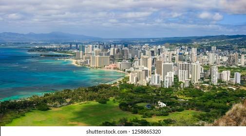 Waikiki and surrounds from Diamond Head Lookout, Hawaii