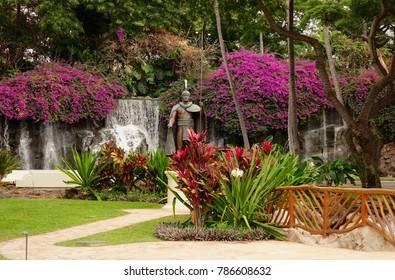 Wailea (Maui), Hawaii/USA -  February 14, 2016: King Kamehameha garden, Grand Wailea hotel