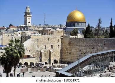 The wailing wall and Dome of the Rock mosque in Jerusalem.