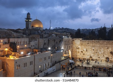 The wailing Wall and the Dome of the Rock in the Old city of Jerusalem n the evening, Israel