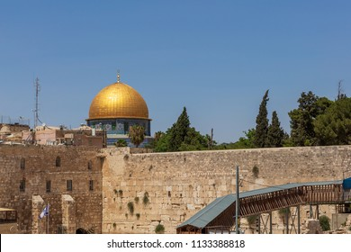 Wailing wall and golden dome in Jerusalem, Israel