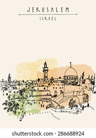 Wailing wall in Jerusalem, Israel. Handmade artistic drawing. Vertical postcard greeting card graphic design template. Freehand skyline background with copy space for your text. Hand lettering title