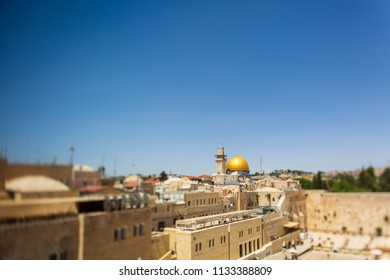 Wailing wall and mousque Al-aqsa (Dome of the Rock) in Jerusalem with strong tilt effect