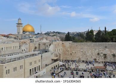 Wailing wall and Qubba al-Ṣakhra In Israel